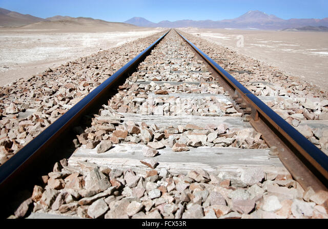 Railway tracks - Travel in Bolivia - Stock Image