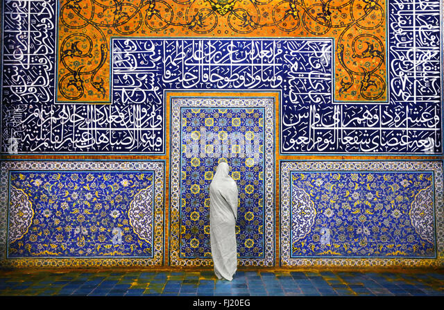 Woman in Sheikh Lotfollah Mosque, Isfahan - Stock Image
