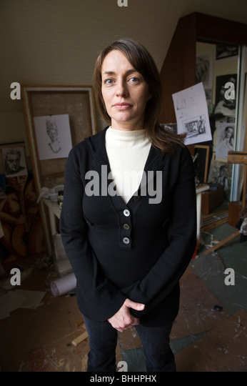 Scottish born Wales based artist Corrie Chiswell pictured in her Cardiff studio. - Stock Image