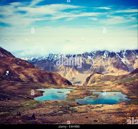 Vintage retro effect filtered hipster style travel image of mountain lakes in Spiti Valley in Himalayas. Himachal - Stock Image