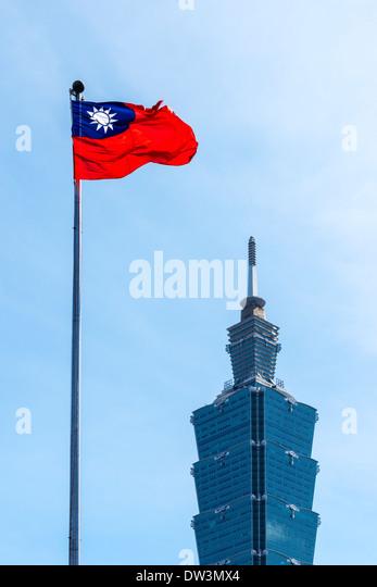 Flag of Taiwan and Taipei 101 - Stock Image