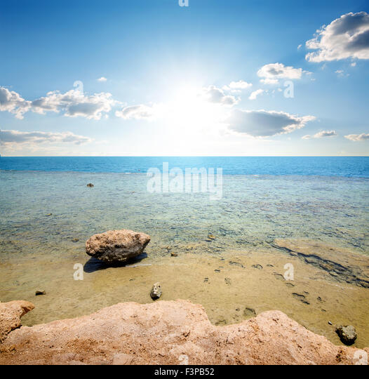 Coast of red sea at the sunlight - Stock Image