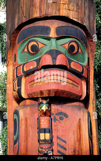 Canada, British Columbia, Vancouver, a Haida totem - Stock Image