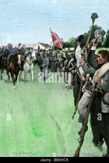 General Lee and General Hill riding the Confederate lines at Antietam 1862 - Stock Image