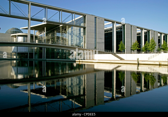 River Spree at government district, Paul-Labbe-House, Reichstag, Berlin, Germany, Europe - Stock Image