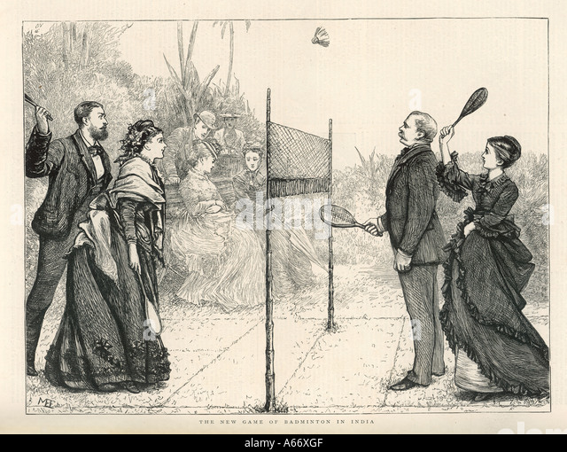Badminton In India 1874 - Stock Image