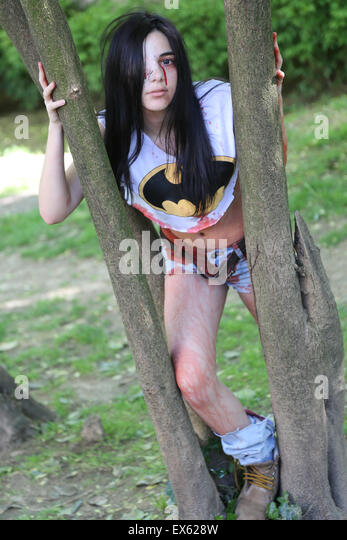 Girl participate have fun during zombie walk Istanbul Nisantasi Park - Stock Image