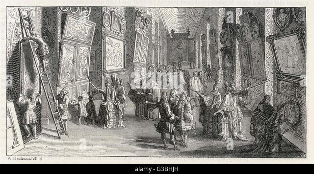 The first exhibition of  paintings in the Louvre.        Date: 1699 - Stock-Bilder