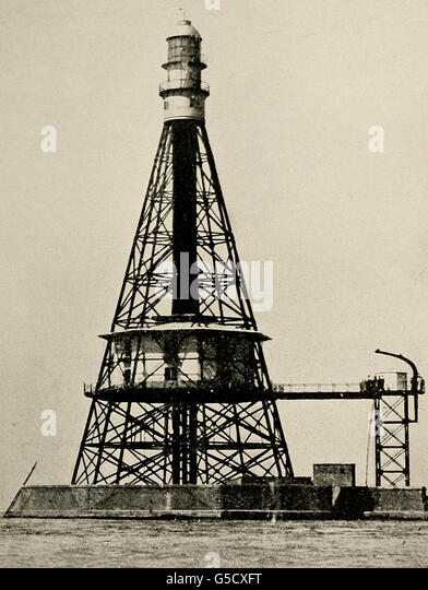 The Old Sanganeb Reef Lighthouse in the Red Sea, circa 1910 - Stock Image