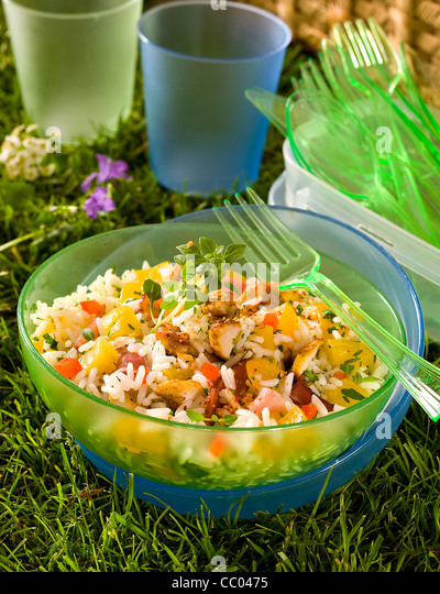 Chicken and Apricot Rice Salad - Stock Image