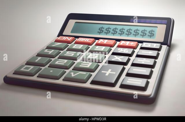 Calculator with dollar symbols, illustration. - Stock-Bilder