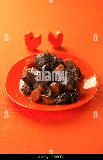 Beef,carrot and prune stew - Stock Image