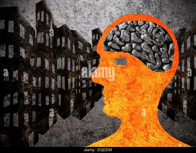 city man with asphalt brain - Stock Image