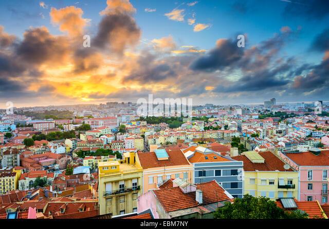 Lisbon, Portugal Baixa district skyline during sunset. - Stock Image