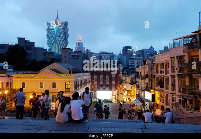 China, Macau, historical center, UNESCO World heritage, rua de sao Paulo and Grand Lisboa Casino Hotel - Stock Image