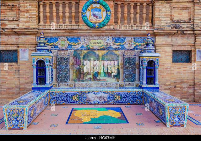 Glazed tiles bench of spanish province of Guadalajara at Plaza de Espana, Seville, Spain - Stock Image