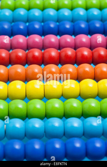 Close up of abacus beads - Stock Image