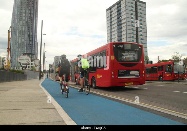 London, UK. 07th July, 2014. London transport buses seen parked on Stratford High Street where the road had been - Stock Image