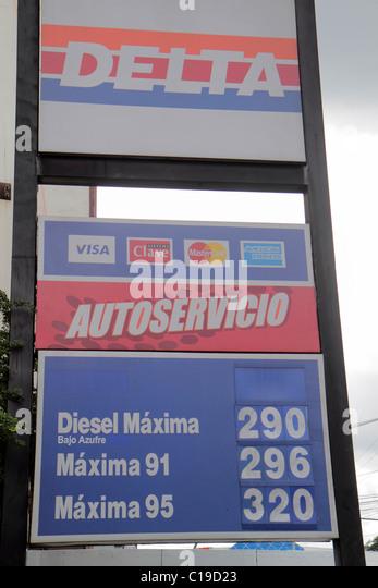 Panama Panama City Petroleos Delta national company gas station gasoline petrol sign price self-service Spanish - Stock Image