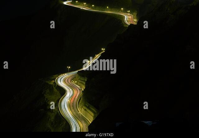 Slide Hilly Light, Photo taken on the on of the cliff of Al Hada Hill Road , Al Hada Thaif, Saudi Arabia - Stock Image