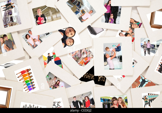 lots of slides with people collage - Stock Image