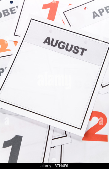Blank Calendar, August, close up for background - Stock Image