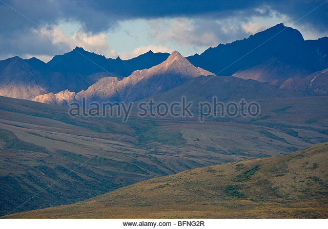 A scenic view of Polychrome Pass in Denali National Park. - Stock Image