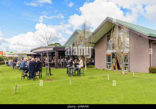 The beer garden of the Cheeky Monkey Brewery, Wilyabrup, Western Australia - Stock Image