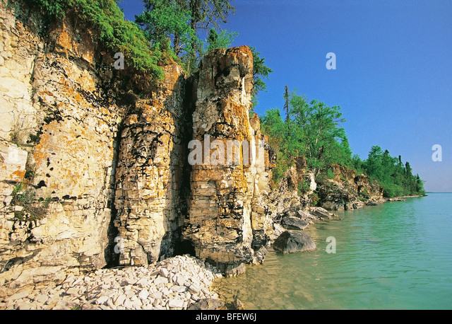 Limestone cliffs along Little Limestone Lake Park Reserve, Manitoba, Canada - Stock Image