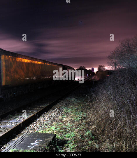 Test train at Rufford Lancashire at night - Stock Image