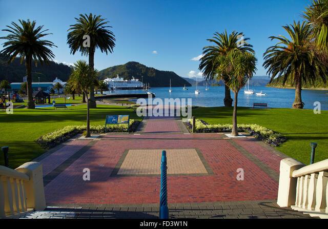 Foreshore Reserve, Picton, Marlborough Sounds, South Island, New Zealand - Stock Image