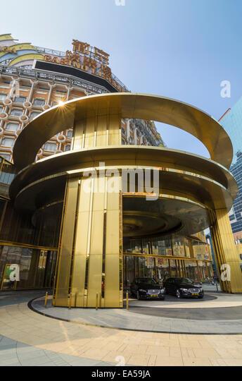 Gold entrance to the Hotel Lisboa, Macau, China - Stock Image