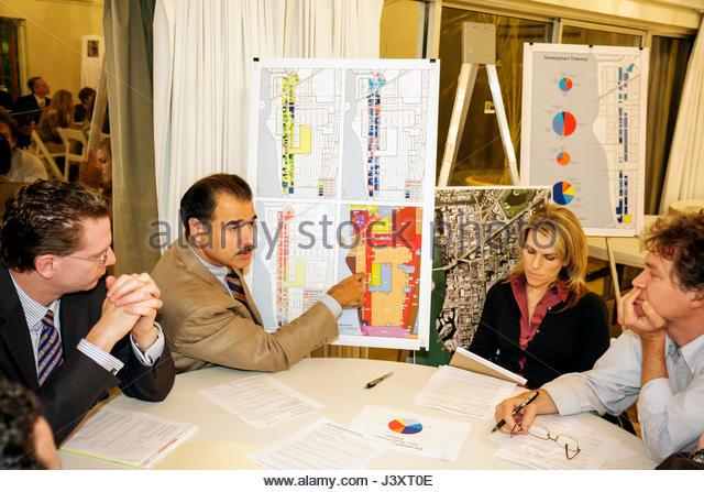 Miami Beach Florida Community Planning Workshop Alton Road corridor future city board map presentation information - Stock Image