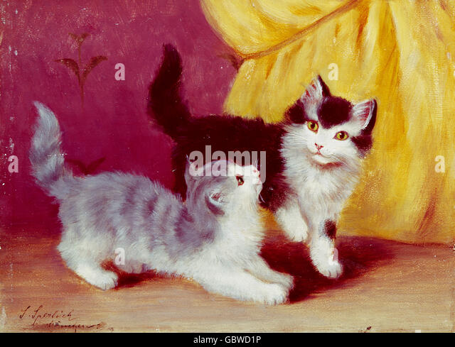 fine arts, Sperlich, Sophie (1863 - 1906), painting 'Playing Cats', Wimmer Gallery, Munich, - Stock-Bilder