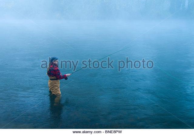 Woman fly-fishing in a river, McKenzie River, Hendricks Bridge County Park, Lane County, Oregon, USA - Stock Image