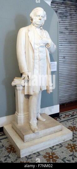 Marble statue of the Right honourable John Bright, MP (1811-1889) by Bruce A Joy (1842-1924) Irish sculptor working - Stock Image