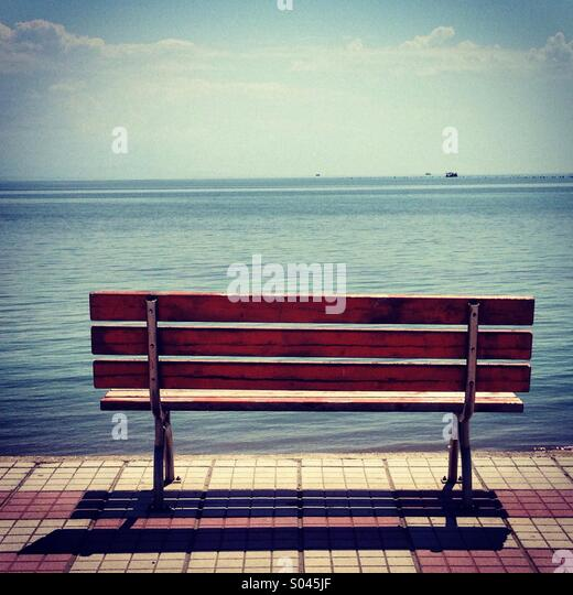 Bench and sea view - Stock Image