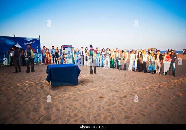Open air photo studio with portraits of celebrities on the beach, Chennai, Tamil Nadu, India - Stock Image