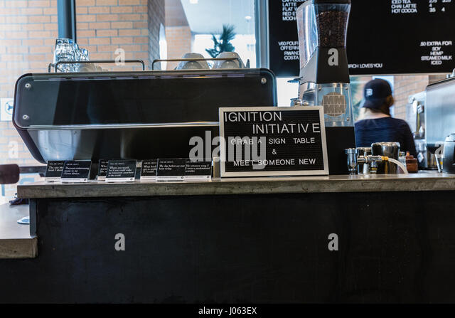 Sign in university coffee shop - Ignition Initiative - Stock Image