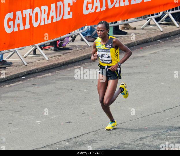 Brighton, UK. 14 April 2013. Brighton Marathon women's race winner Eunice Kales, of Kenya, on the home straight - Stock Image