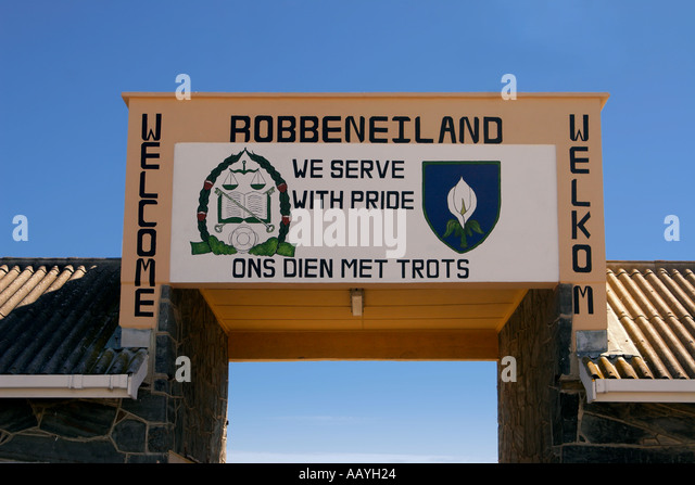 south africa cape town Robben Island Entrance gate prison island of Nelson Mandela during apartheid - Stock Image