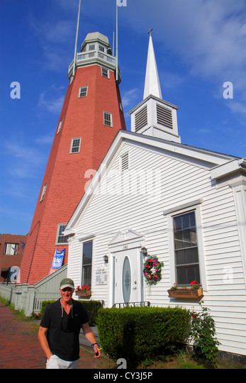 Maine Portland Congress Street Portland Observatory built 1807 last surviving maritime signal tower historical building - Stock Image