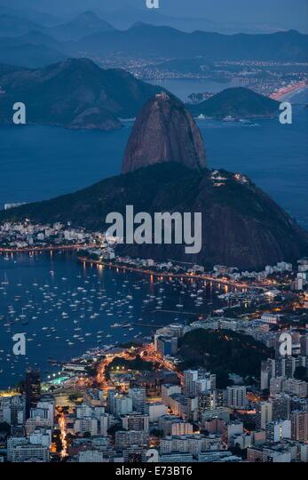 View from Cristo Redentor over Rio de Janeiro at night, Corcovado, Rio de Janeiro, Brazil, South America - Stock Image