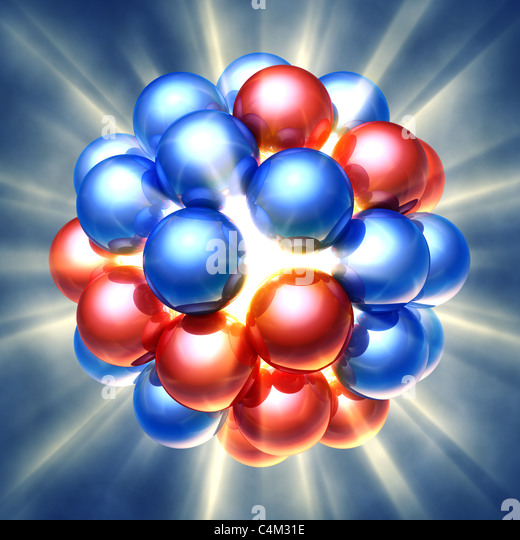 Nuclear fission , 3d illustration - Stock Image