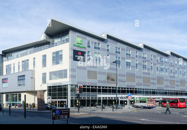 Derby Bus Station with Holiday Inn and Genting Club above - Stock-Bilder