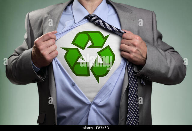 Superhero green eco businessman - Stock Image