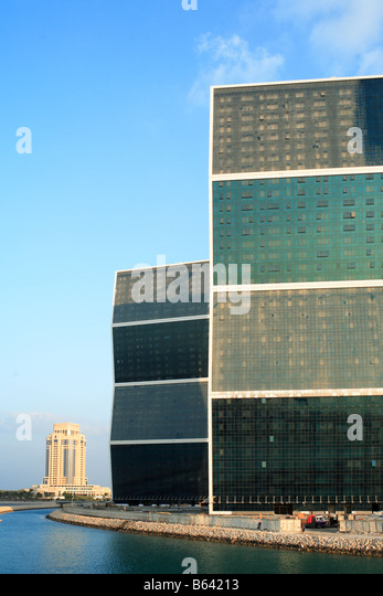 The zig zag towers on the West Bay lagoon in Doha Qatar as they approach completion on November 26 2008 - Stock Image