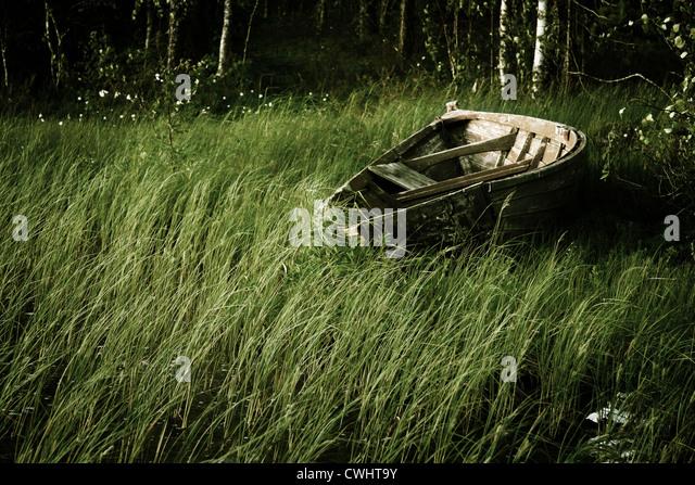rowboat,wooden boat - Stock Image