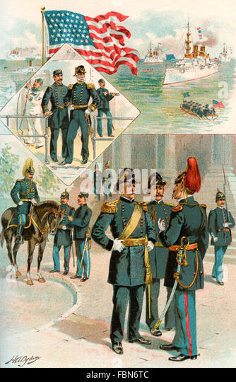 United States army and navy uniforms at the time of the Spanish-American War, 1898. - Stock Image