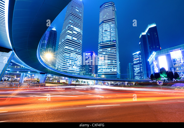 shanghai downtown at night - Stock Image